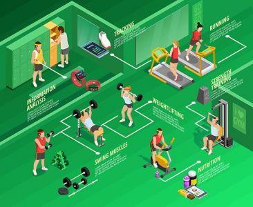 Gym isometric Infographics,Gym isometric Infographics