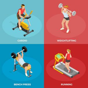 Gym Sport Isometric Concept,Gym Sport Isometric Concept