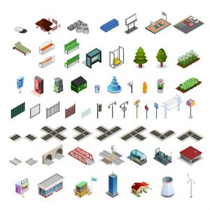City Map Constructor Isometric Elements Collection ,City Map Constructor Isometric Elements Collection