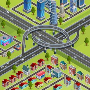 City Roads Junction Interchange Isometric Poster ,City Roads Junction Interchange Isometric Poster