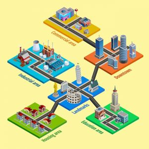 Multilevel City Architecture Isometric Poster,Multilevel City Architecture Isometric Poster