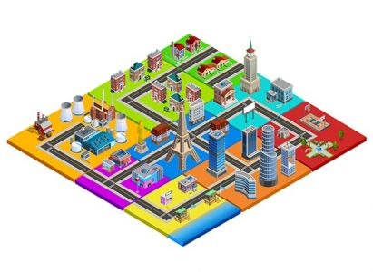 City Map Constructor Colorful Isometric Image,City Map Constructor Colorful Isometric Image