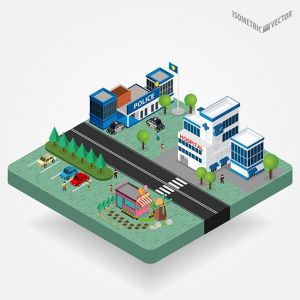 Vector illustration of isometric cityscape