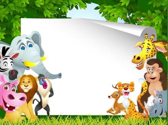 Cartooning The Ultimate Character Design Book Free Download : Jungle animals cards for kids vectors