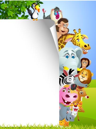 Jungle animals cards for kids vectors stopboris Images