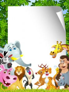 Jungle animals cards for kids vectors
