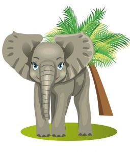 Jungle elephant cartoon vector
