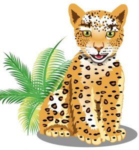 Jungle leopard cartoon vector