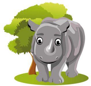 Jungle rhinocerus cartoon vector