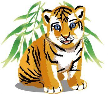 Jungle tiger cartoon vector