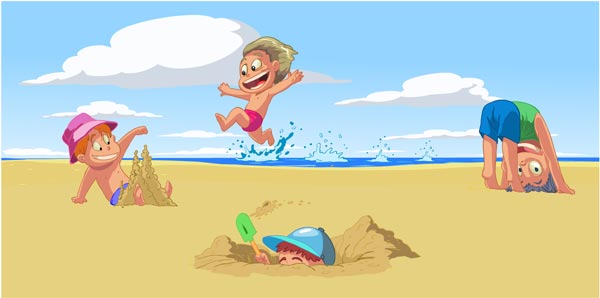 Kids Playing On Beach Vector Cartoons