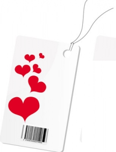 Label with hearts vector