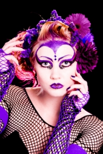 Creative lady in purple and violet
