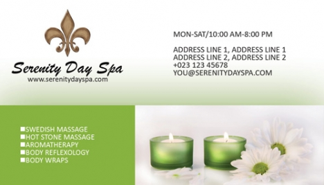Massage and spa business cards
