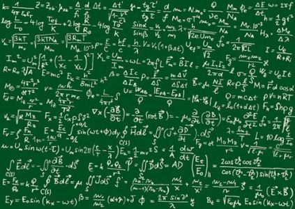 Math formulas vector on green board