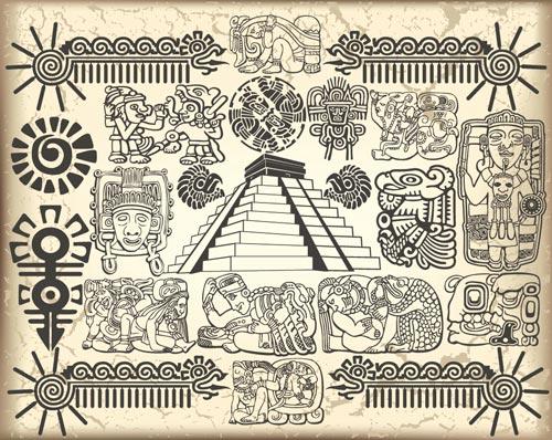 Maya and aztec vector symbols     mirrorMayan Symbols Vector