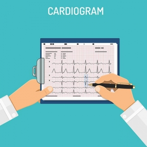 Cardiogram on clipboard in hands of doctor