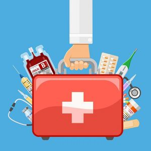 first aid kit in doctor hand