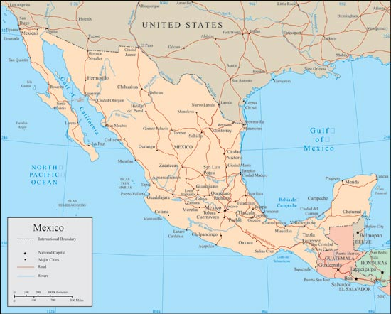 Mexico vector maps – Rivers of Mexico Map