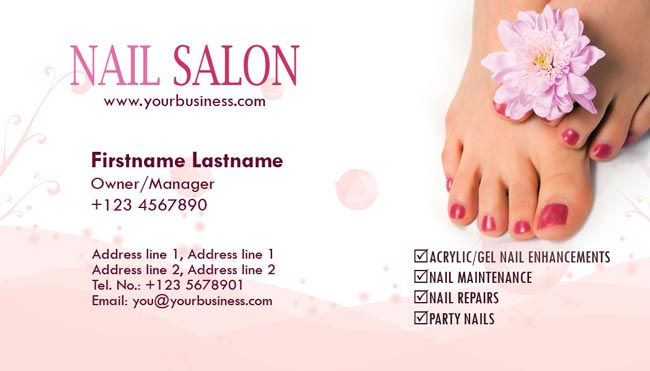 Nail salon and spa business cards