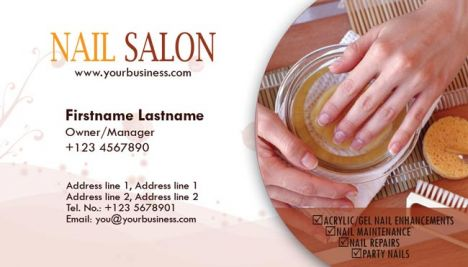 Nail salon and spa business cards for Photoshop