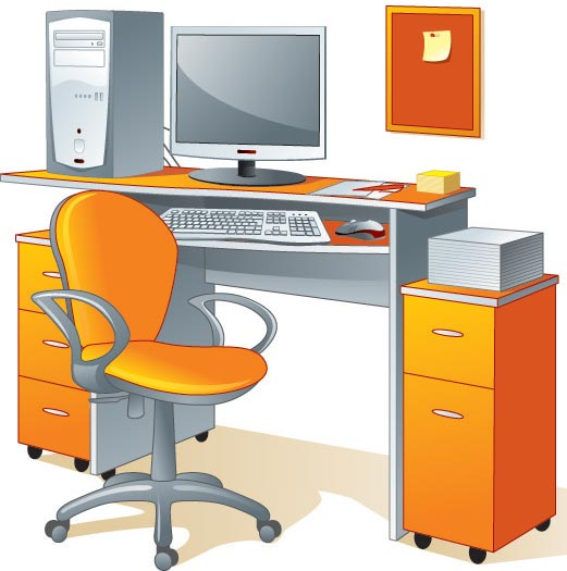 Office furniture and elements vectors for Office 2010 clipart