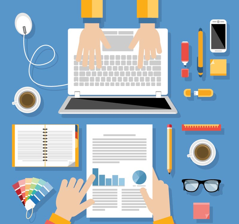 Office Work Technology And Infographics Flat Design