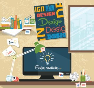 Working at the office vector design
