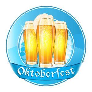 Oktoberfest round banner with ribbon