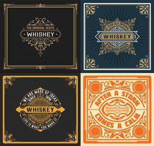 Set Whiskey labes.