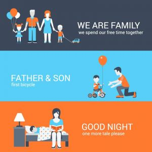 Spending time in family vector banners