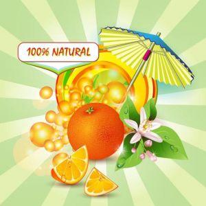 Orange and sunburst vector