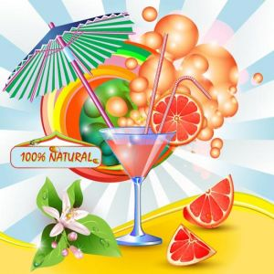 Grapefruit glass vector
