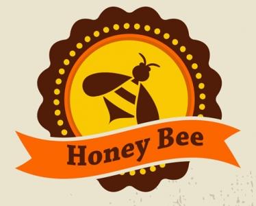 Honey bee vector label set