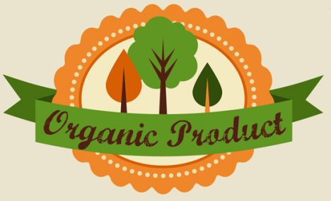 Organic food labels, tags and graphic elements