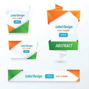 Label, Ribbon Origami Style, orange, green, blue