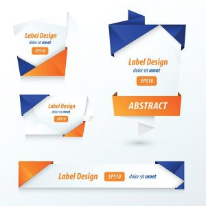 Label, Ribbon Origami, 2 color blue and orange