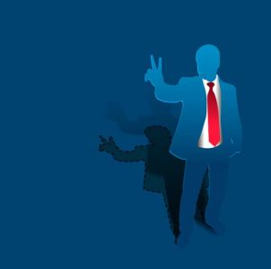 Blue paper businessman vector