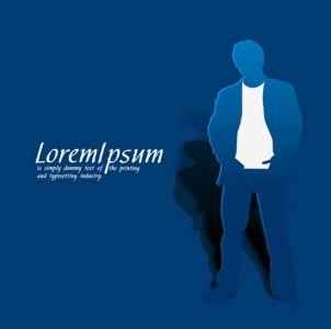 Blue paper businessman design