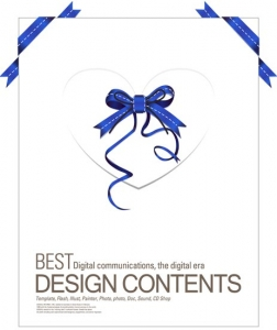 Paper card with ribbons design