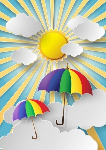 colorful umbrella flying high in the air