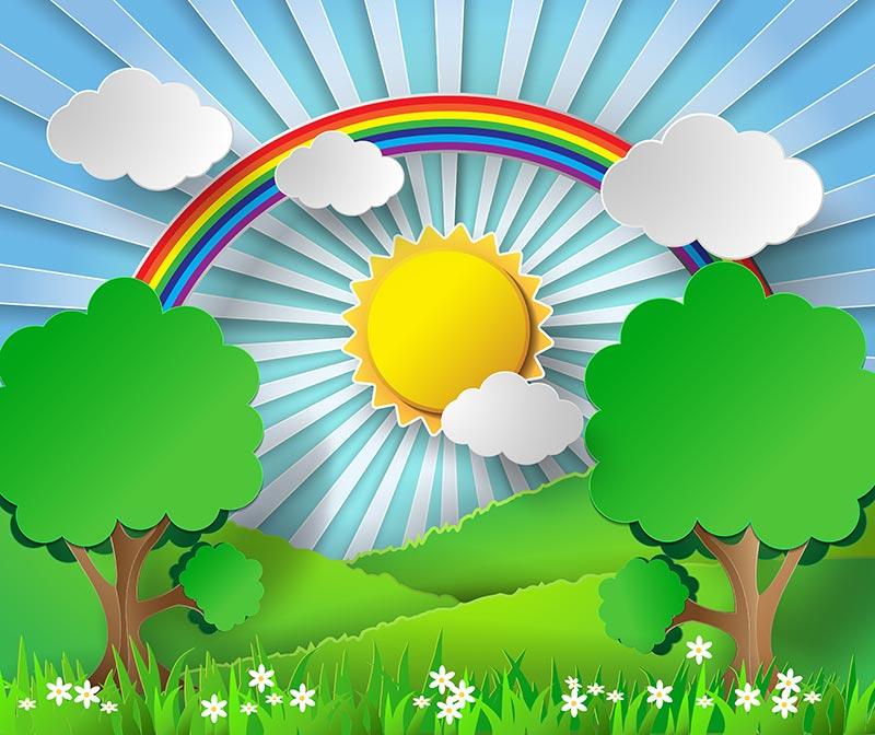 paper stickers effect with sunburst landscape vector