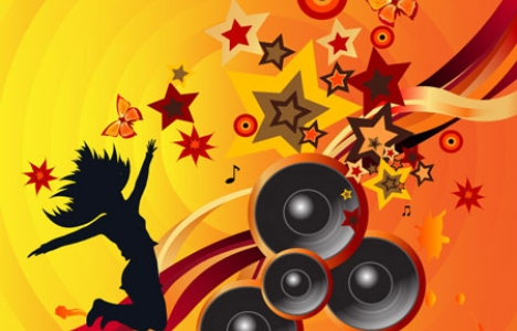 Party dancing music banner