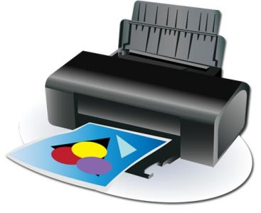 Black printer device vector