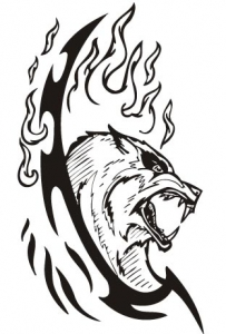 Animal predator tattoo vector silhouette