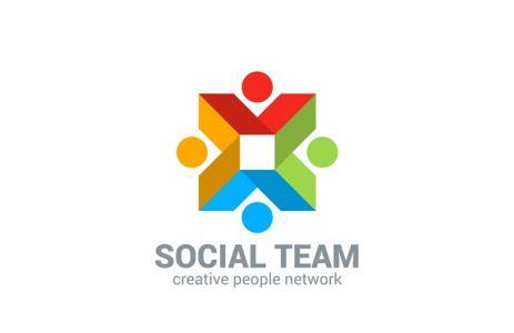 Social network vector logo design template. Internet outernet teamwork symbol