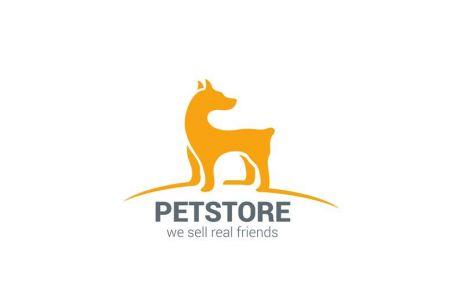 Pet shop Dog standing silhouette vector logo design template.
