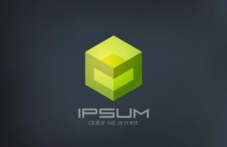 Cube sci-fi abstract vector logo design template