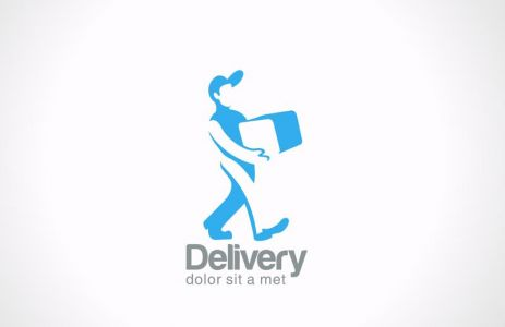 Logo Service Delivery man carries package vector icon design template