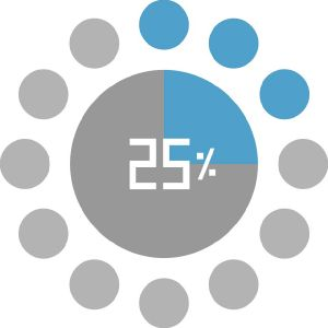 25% Progress circle pie loader vector